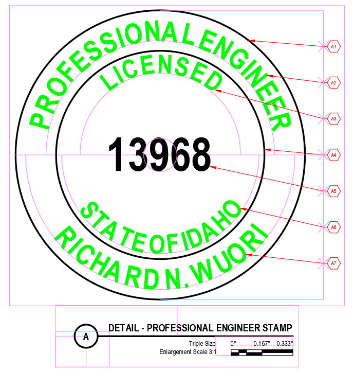 Detail A - Professional Engineering Stamp
