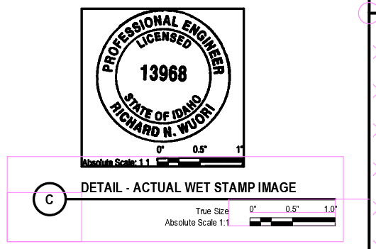 Detail C - Actual Wet Stamp Images