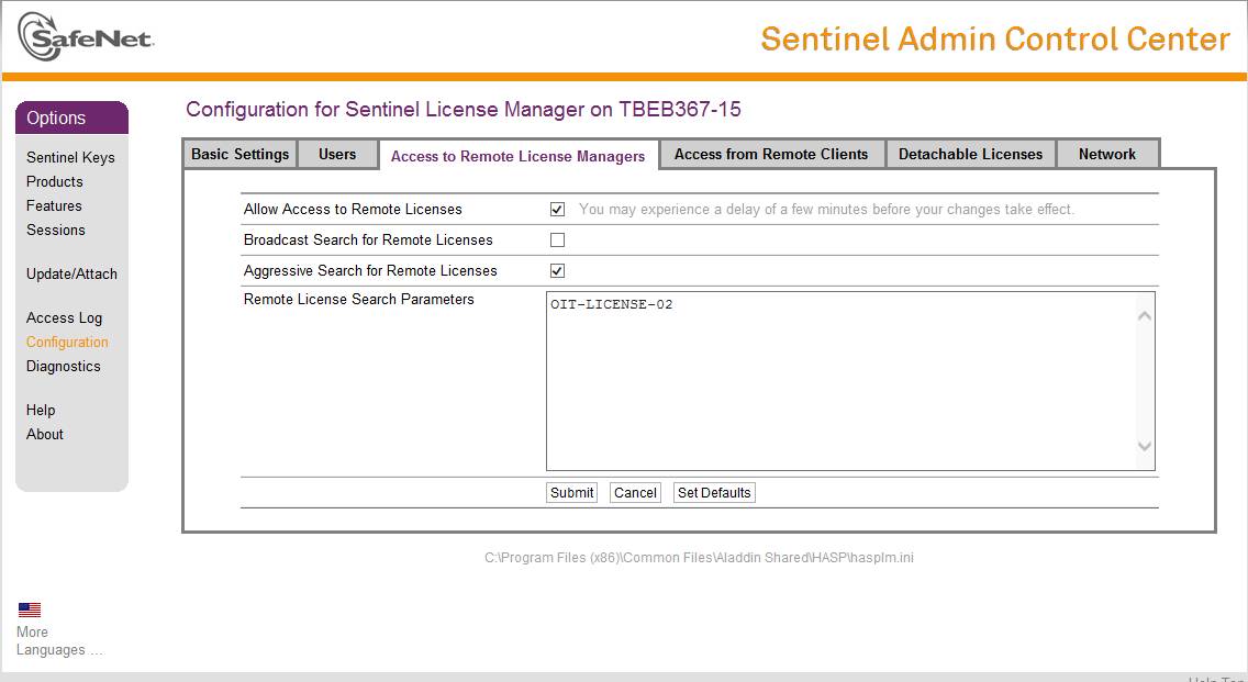 Figure 10-1 Trimble Remote License Manager at UNLV