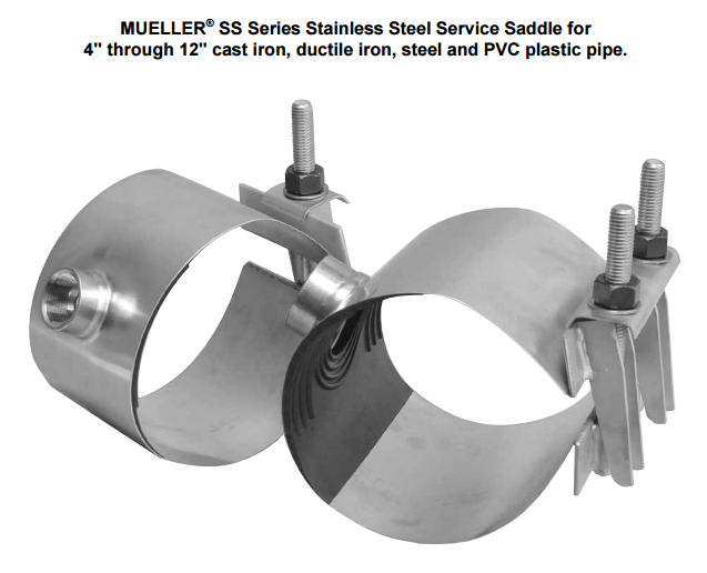 Figure 1-0 Mueller Stainless Steel Service Saddle