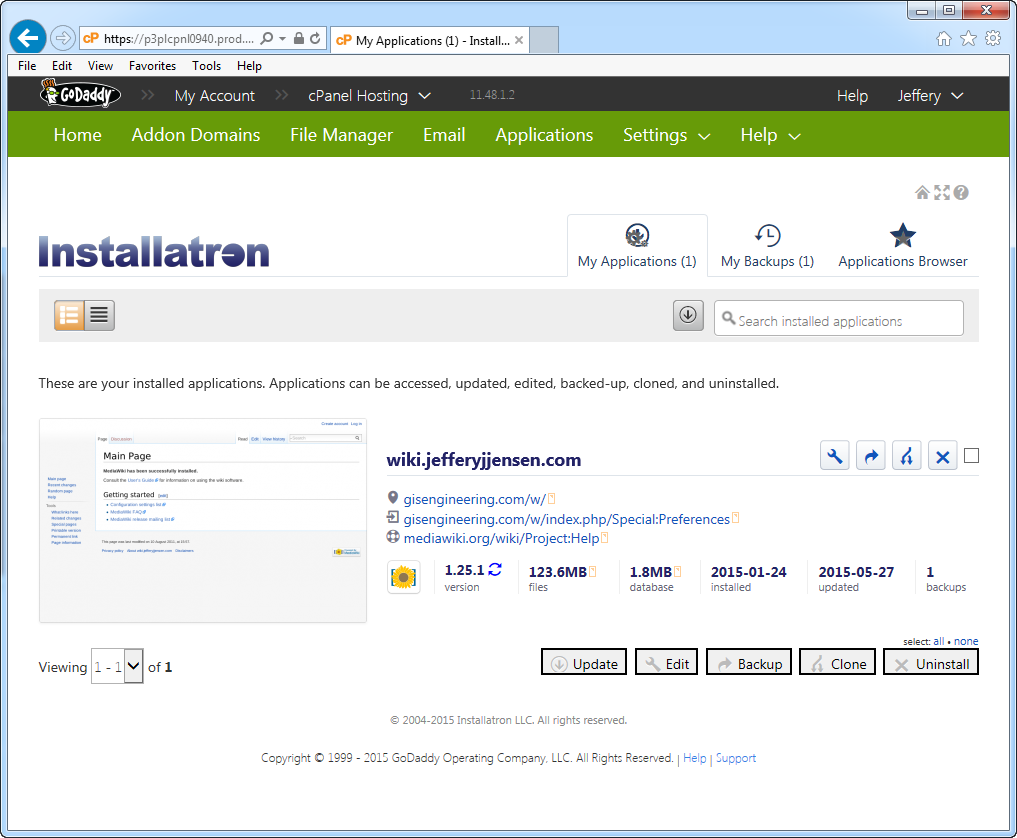 Figure 1-0 GoDaddy Installatron for MediaWiki
