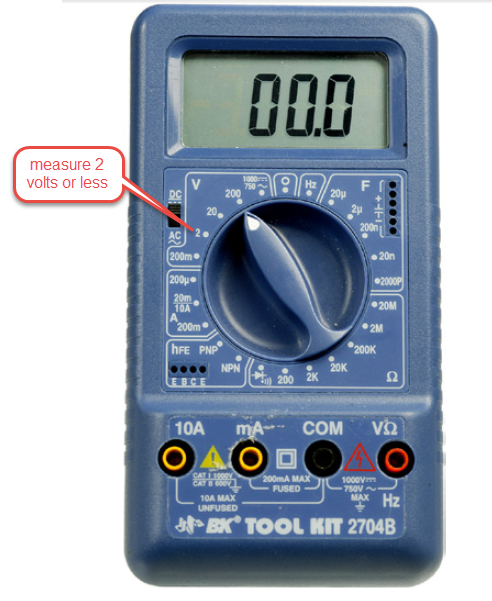 Fig. 1-1 Multimeter - Voltage Value Limits, Make Electronics by Platt, p. 3