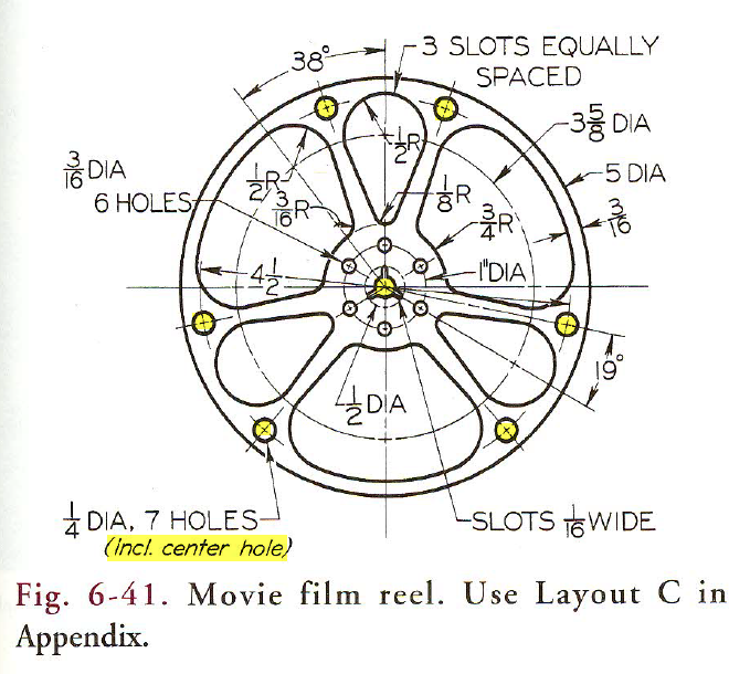 Basic Technical Drawing, 8th by Spencer, Figure 6-41 Movie film reel