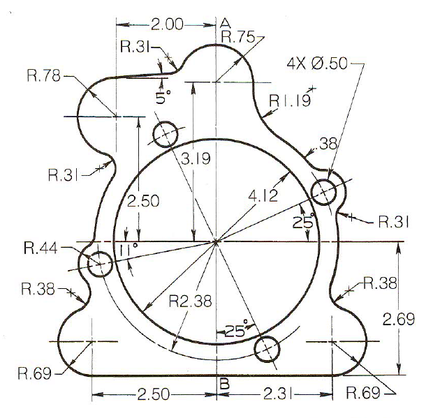 Basic Technical Drawing, 8th by Spencer, Figure 6-44 Buick rear transmission gasket