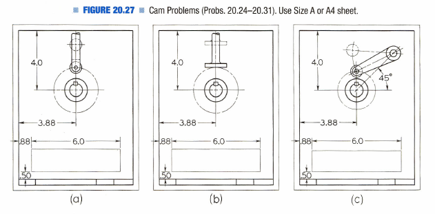 Figure 2-0 Cam Problems (Probs. 20.24-20.31) from Technical Drawing 12th by Giesecke