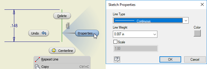 Inventor Drawing Layout - Sketch Properties