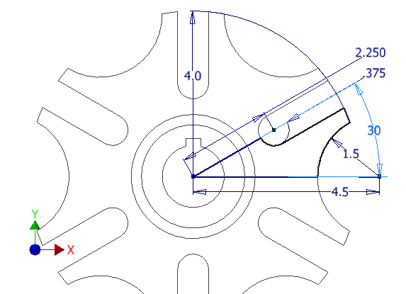 Figure 3-0 Geneva Wheel 2D Sketch