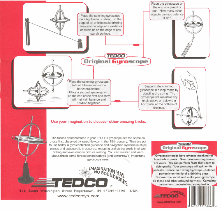 Figure 3-0 TEDCO Original Gyroscope Directions page 2 of 2