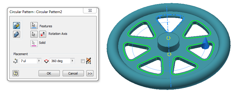 Figure 16-0 Circular Patter of Gyroscope Wheel Fillet on Top and Bottom of Web Cut