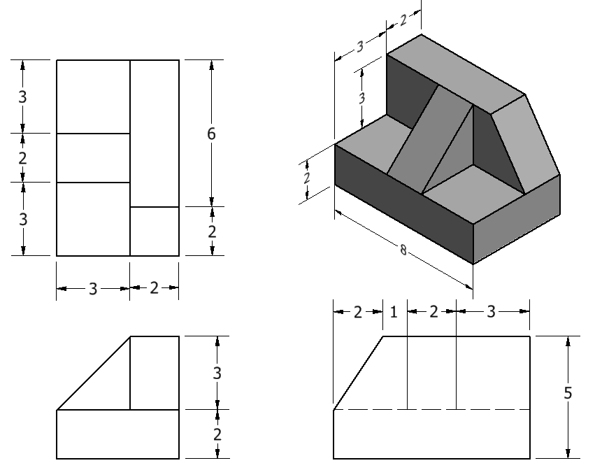 Figure 2-0 Basic Technical Drawing, 8th Edition by Spencer, Fig 7-28 Sketching Problem 4 of 20 on p. 139, Multiview and Isometric