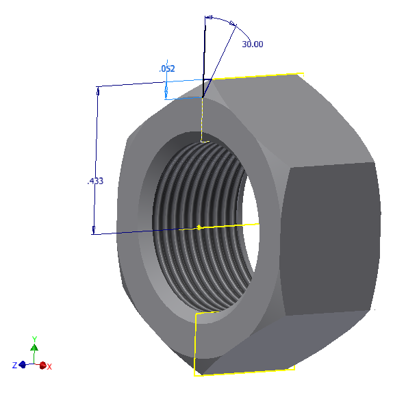 "Figure 4-0 Chamfer on a 3/4"" Nut"