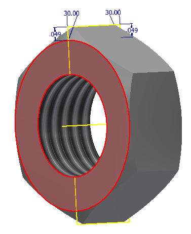 "Figure 4-0 3/8"" Hex Nut with corner Chamfers on both sides"