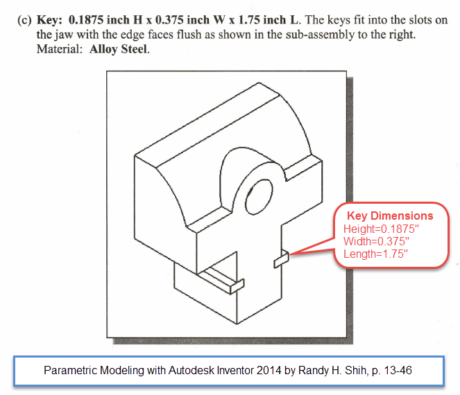 Figure 4-0 Vise Jaw Key Dimensions