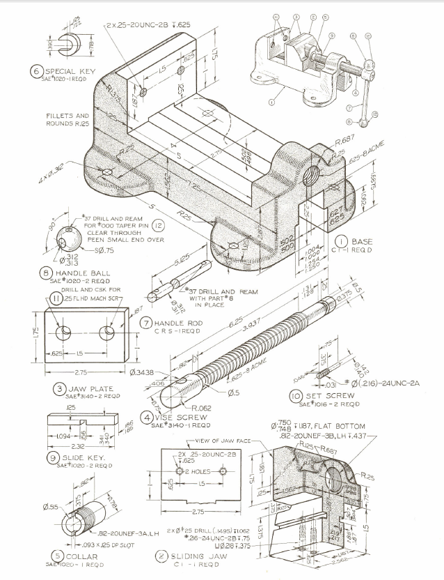 Figure 1-0 Machine Vise from Technical Drawing, 12th Ed by Giesecke