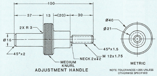Figure 2-0 Knurl example in plans - Fundamentals of Modern Drafting by Paul Ross Wallach, p. 326
