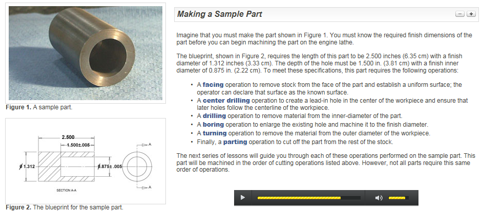 Figure 1-0 Lathe Workflow on a short pipe, Toolingu.com, Engine Lathe Operation 225 - Lesson 12 of 23 - Making a Sample Part