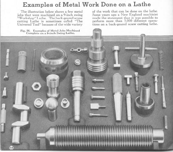 Figure 1-0 Examples of Metal Work Done on a Lathe, Bulletin No. 34 by South Bend Lathe Works