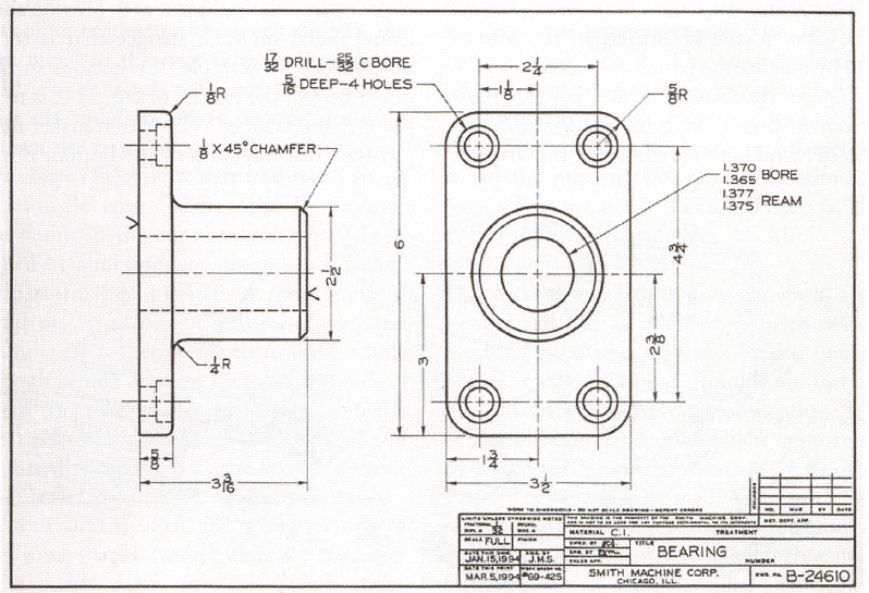 Fig. 11-2 A detail working drawing from Basic Technical Drawing, 8th by Spencer, p. 227