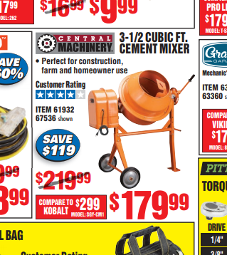 Figure 1-0 Harbor Freight Cement Mixer Ad