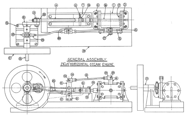 "Fig. 1-1 General Assembly of 2-1/4"" by 4"" Horizontal Steam Engine, p. 25"