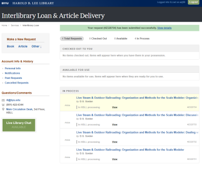 BYU Interlibrary Loan Form Submitted