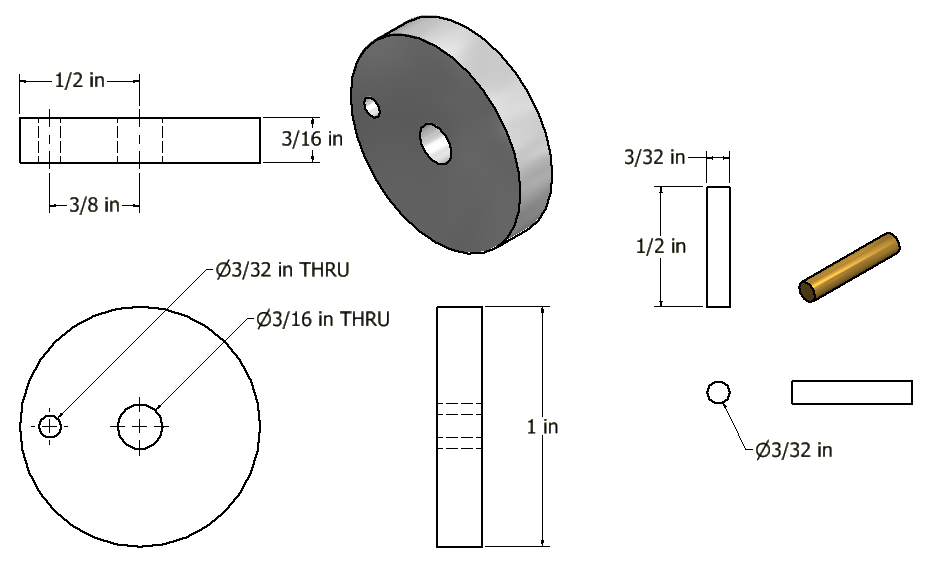 Figure 5-0 Tubal Cain Steam Engine - Crank Disc and Pin Multiview