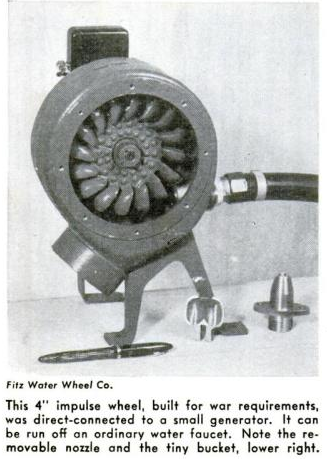 "Figure 1-0 Fitz Water Wheel Company - 4"" Impulse Wheel"