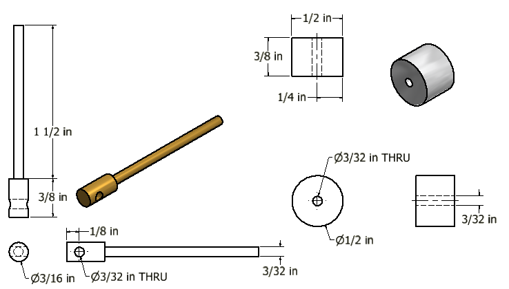 Figure 7-0 Tubal Cain Steam Engine - Piston Head and Piston Shaft/Rod Multiview