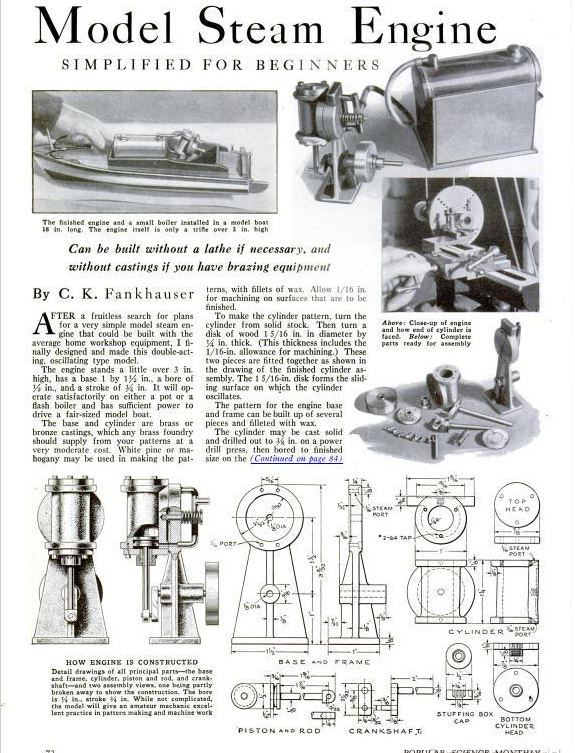 Figure 1-0 Model Steam Engine from Popular Science Monthly, May 1935, p. 72
