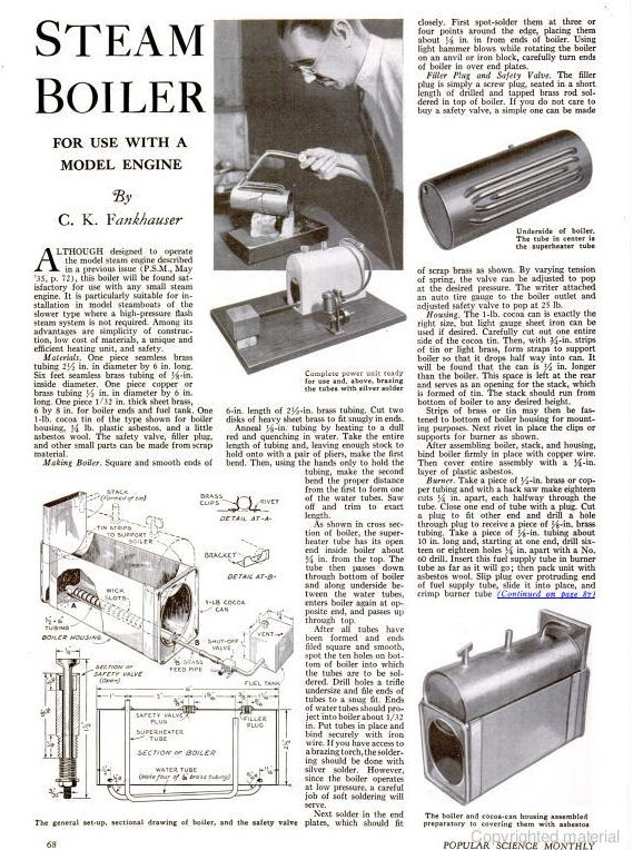 Figure 1-0 Steam Boiler from Popular Science Monthly, Aug 1935, p. 68