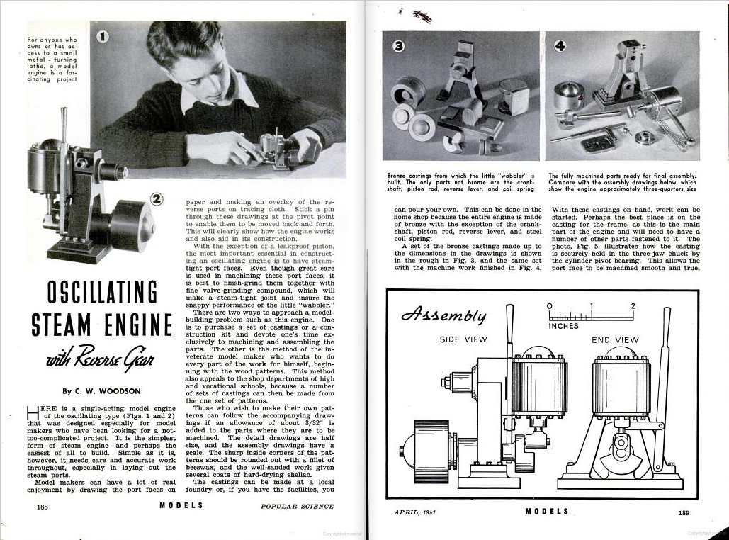 Figure 1-0 Oscillating Steam Engine with Reverse Gear, Part II by C. W. Woodson from Popular Science Monthly, May 1941, p. 188-9