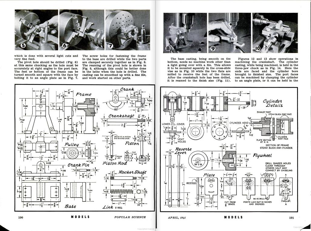 Figure 1-0 Oscillating Steam Engine with Reverse Gear, Part II by C. W. Woodson from Popular Science Monthly, May 1941, p. 190-1