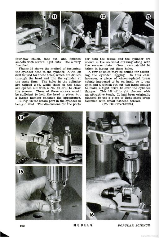 Figure 1-0 Oscillating Steam Engine with Reverse Gear, Part II by C. W. Woodson from Popular Science Monthly, May 1941, p. 192
