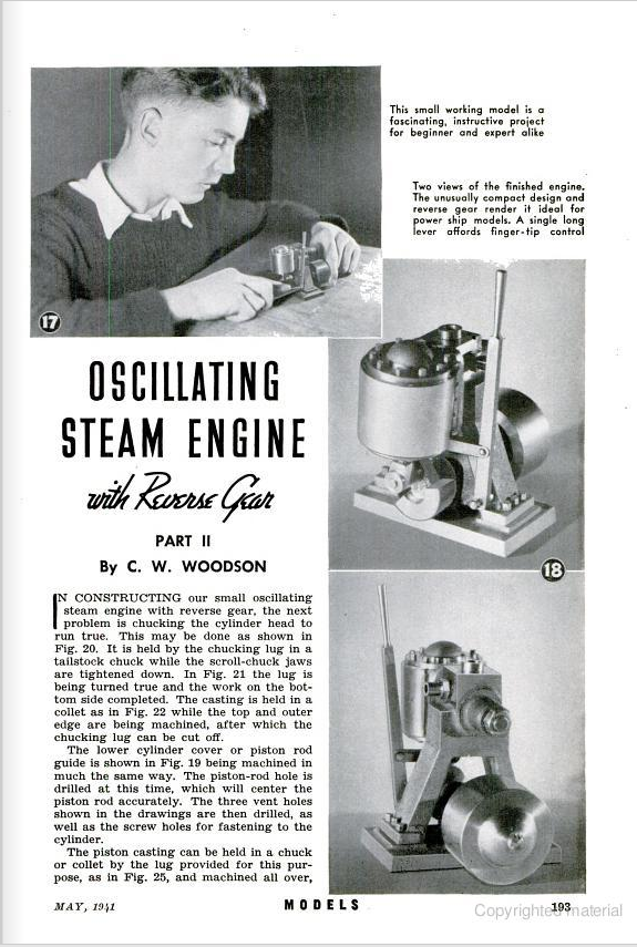 Figure 1-0 Oscillating Steam Engine with Reverse Gear, Part II by C. W. Woodson from Popular Science Monthly, May 1941, p. 193