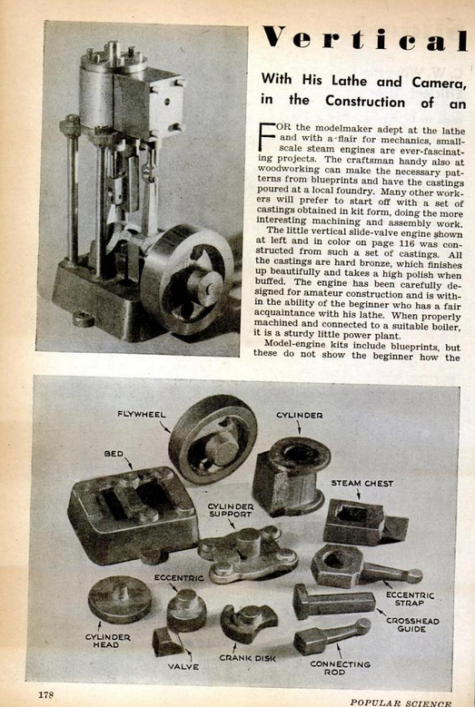 Figure 1-0 Vertical Slide-Valve Steam Engine from Popular Science Monthly, May 1946, p. 178
