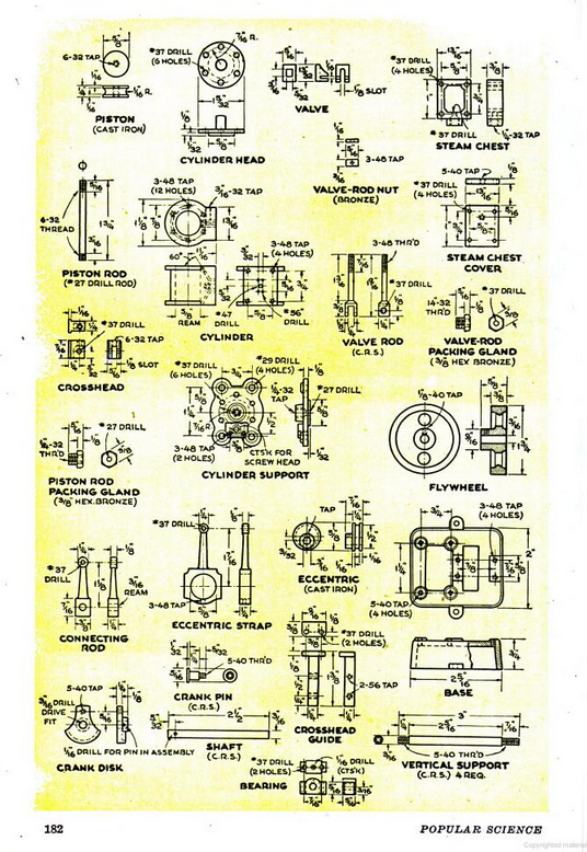 Figure 5-0 Vertical Slide-Valve Steam Engine from Popular Science Monthly, May 1946, p. 182