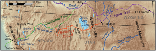 Figure 2-0 Donner-Reed Party Map with Hastings Cutoff
