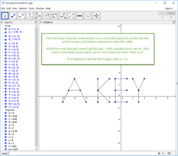 Figure 1-0 GeoGebra - Plotting Ordered Pairs and Connecting with Segments